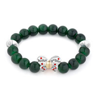 New Arrivals - green gemstone butterfly mother daughter charms bangle bracelet Image.