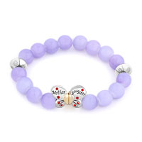 Bracelets - purple gemstone butterfly mother daughter charms bangle bracelet Image.