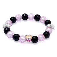 Bracelets - black &  light pink stone pink ciystal mom bead cham stretch bracelet Image.