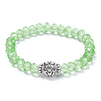 Bracelets - green cz crystal with silver/ p irish claddagh elastic charm bracelet Image.