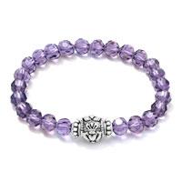 Bracelets - amethyst cz crystal silver/ p irish claddagh elastic charm bracelet Image.