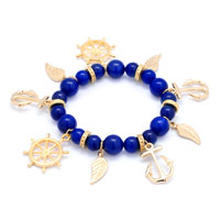 New Arrivals - blue beaded helm &  anchor charm feather gold sailor bangle bracelet Image.