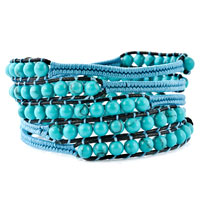 New Year Deals - stunning turquoise beads wrap bracelet on natural black leather Image.