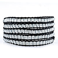 New Year Deals - classic gray agate beads wrap bracelet on natural black leather Image.