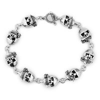 Man's Jewelry - new fashion silver skull gothic punk beads bracelet buddhist prayer Image.