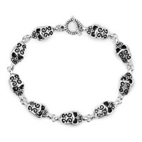 Man's Jewelry - stylish gifts silver skull gothic punk beads bracelet buddhist prayer Image.