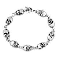 Man's Jewelry - stylish cool silver skull gothic punk beads bracelet buddhist prayer Image.