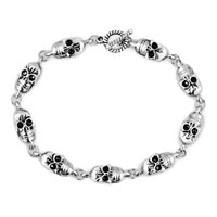 Man's Jewelry - new stylish silver skull gothic punk beads bracelet buddhist prayer Image.