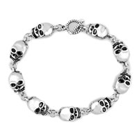 Man's Jewelry - stylish silver skull gothic punk beads for bracelet buddhist prayer Image.