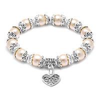 Bracelets - heart dangle freshwater ivory pearl silver/ p spacer beaded bracelet Image.
