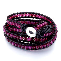 New Year Deals - red agate beads wrap bracelet on natural black leather for women Image.