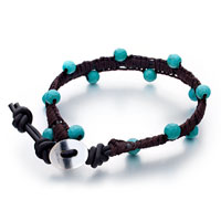Bracelets - turquoise beads on black brown rope bracelet little metal for women Image.