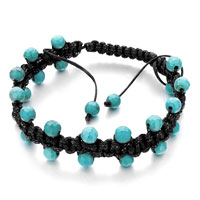 New Year Deals - lake blue beads on black leather turquoise wrap agjustable bracelet Image.