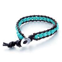 Bracelets - turquoise beads wrap genuine leather bracelet Image.