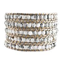 Bracelets - classic white green turquoise beads wrap bracelet on gray leather Image.