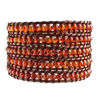 Bracelets - white beads on brown leather turquoise wrap bracelet snap button lock bracelets women Image.