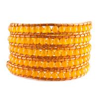Bracelets - yellow turquoise beads wrap bracelet on brown leather bracelet Image.