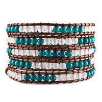 Bracelets - blue white agate beads wrap bracelet on brown cotton snap button lock Image.