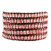 Bracelets - classic glass beads fashionable wrap bracelet on brown cotton Image.