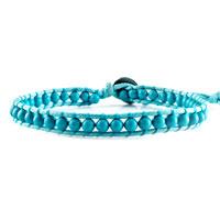 Bracelets - classic turquoise beads wrap bracelet on blue cotton snap button lock bracelets women Image.