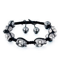 Man's Jewelry - shamballa bracelet dark gray halloween skull clear crystal black cotton Image.