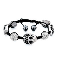 Man's Jewelry - shamballa bracelet halloween skull black rhinestone crystal disco ball cotton Image.