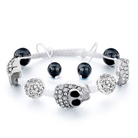 Bracelets - shamballa bracelet halloween skull disco ball clear crystal white cotton Image.