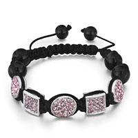 Bracelets - shamballa bracelet round square october birthstone light rose crystal Image.