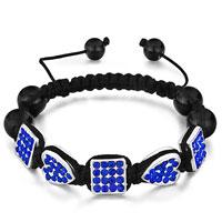 Bracelets - shamballa bracelet square heart september birthstone sapphire crystal Image.