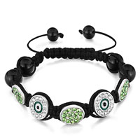 Bracelets - shamballa bracelet oval peridot crystal round clear eye Image.