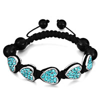 Bracelets - shamballa bracelet heart march birthstone aquamarine crystal Image.