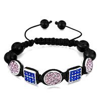 Bracelets - shamballa bracelet square sapphire crystal & oval light rose Image.