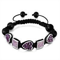 Bracelets - shamballa bracelet heart amethyst square light rhinestone Image.