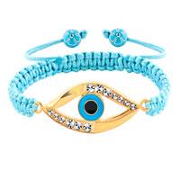 Bracelets - evil eyes bracelets 18k gold clear white crystal hamsa bracelets Image.