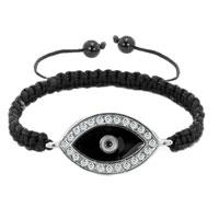 Bracelets - evil eyes bracelets clear white iced crystal handmade evil eye black bracelets Image.