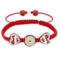 Bracelets - clear white crystal double heart love light red string adjustable lace bracelet Image.