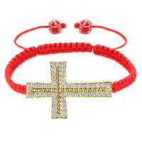 New Year Deals - topaz yellow crystal cross light red string adjustable lace bracelet Image.