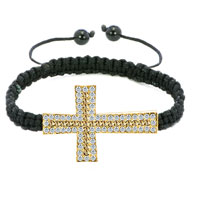 New Year Deals - black lace silver iced out topaz yellow crystal sideways cross macrame adjustable lace bracelet Image.