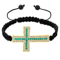 Bracelets - blue topaz white crystal cross black string adjustable lace bracelet Image.