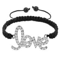 Bracelets - black lace silver iced out classic black crystal sideways love macrame adjustable lace bracelet Image.