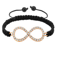 Bracelets - infinity bracelet clear crystal sideways adjustable lace bracelet Image.