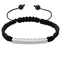 Bracelets - clear white crystal black string adjustable lace bracelet Image.
