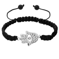 Bracelets - evil eyes bracelets clear white crystal hamsa hand evil eye on exquisite palm black bracelets Image.