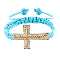 Bracelets - topaz yellow and clear white crystal cross aquamarine blue string adjustable lace bracelet Image.