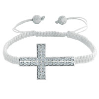 Man's Jewelry - clear white crystal sideways cross lace bracelet white knitting braided leather string horizontal adjustable lace bracelet Image.