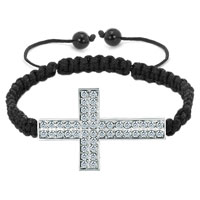 New Year Deals - clear white crystal sideways cross lace bracelet black knitting braided leather string horizontal adjustable lace bracelet Image.