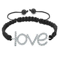 Bracelets - clear white crystal word love black knitting braided leather string adjustable lace bracelet Image.