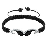 New Year Deals - clear white crystal black wide open mustache beard black knitting braided leather string adjustable lace bracelet Image.