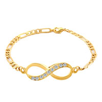 New Year Deals - infinity bracelet 14 k gold plated clear lobster clasps bracelet Image.
