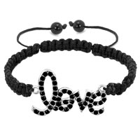 Man's Jewelry - silver tone classic black rhinestones love leather string adjustable lace bracelet Image.